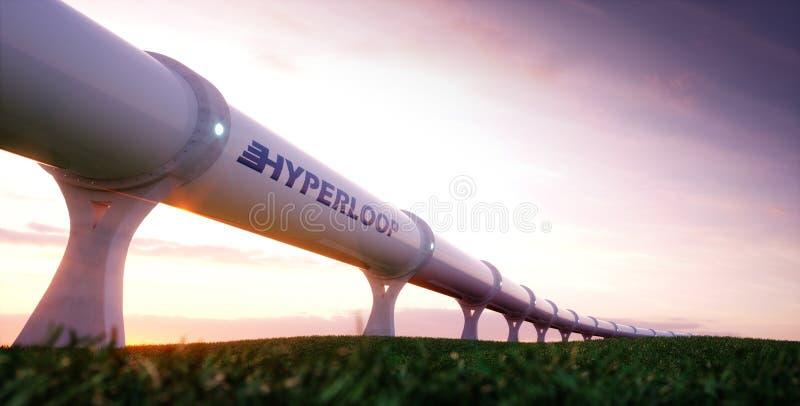 Hyperloop transportation concept. Futuristic transportation tech. Nology in evening environment. 3d rendering stock illustration