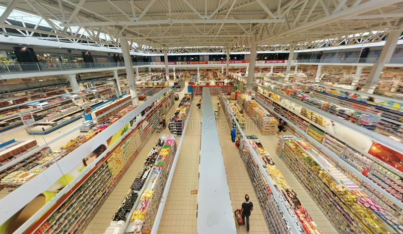 Hypermarket inside. Top view royalty free stock images