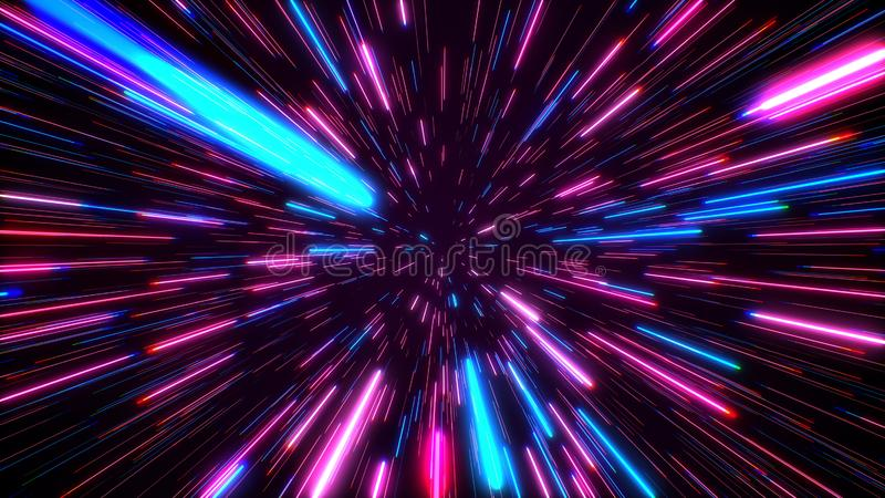 Hyperspace jump through the stars to a distant space. Speed of light, neon rays. Hyperspace jump through the stars to a distant space. Speed of light, neon stock photos