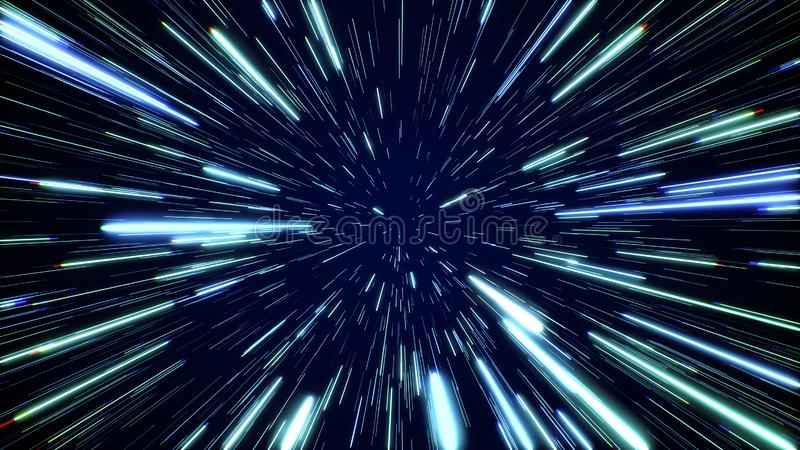 Hyperspace jump through the stars to a distant space. Speed of light, neon rays. Hyperspace jump through the stars to a distant space. Speed of light, neon royalty free stock photography