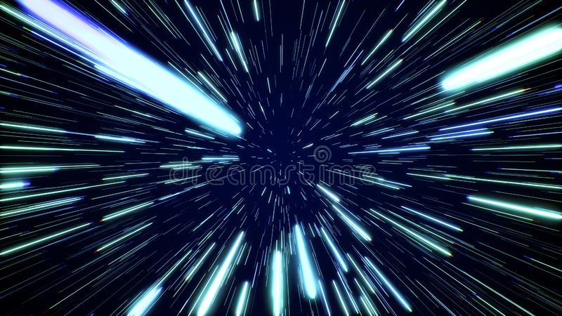 Hyperspace jump through the stars to a distant space. Speed of light, neon rays stock photo