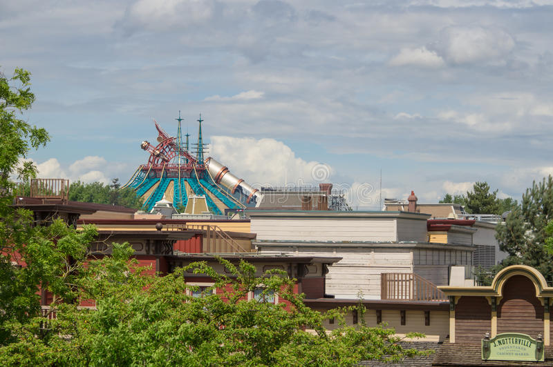 Hyperspace mountain. A view of Hyperspace mountain in Disneyland Paris from Frontierland royalty free stock photography