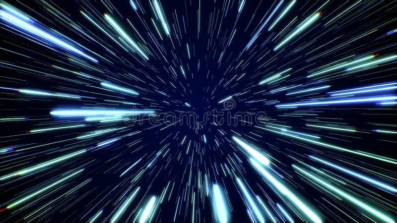Hyperspacesprong door de sterren aan een verre ruimte Snelheid van licht, neonstralen royalty-vrije stock fotografie