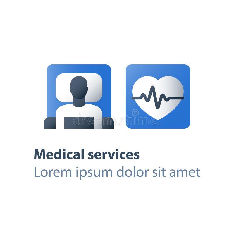 Hypertensie kenmerkende, stationaire behandeling, medische procedure, gezondheidscontrole omhoog, hart- en vaatziekte, hartslag royalty-vrije illustratie