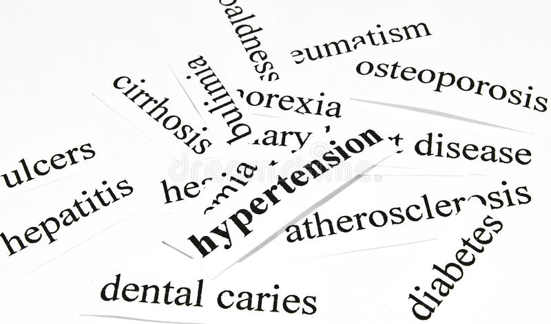Hypertension. Health care concept of diseases caused by unhealthy nutrition. Health care concept of diseases caused by unhealthy nutrition stock photography