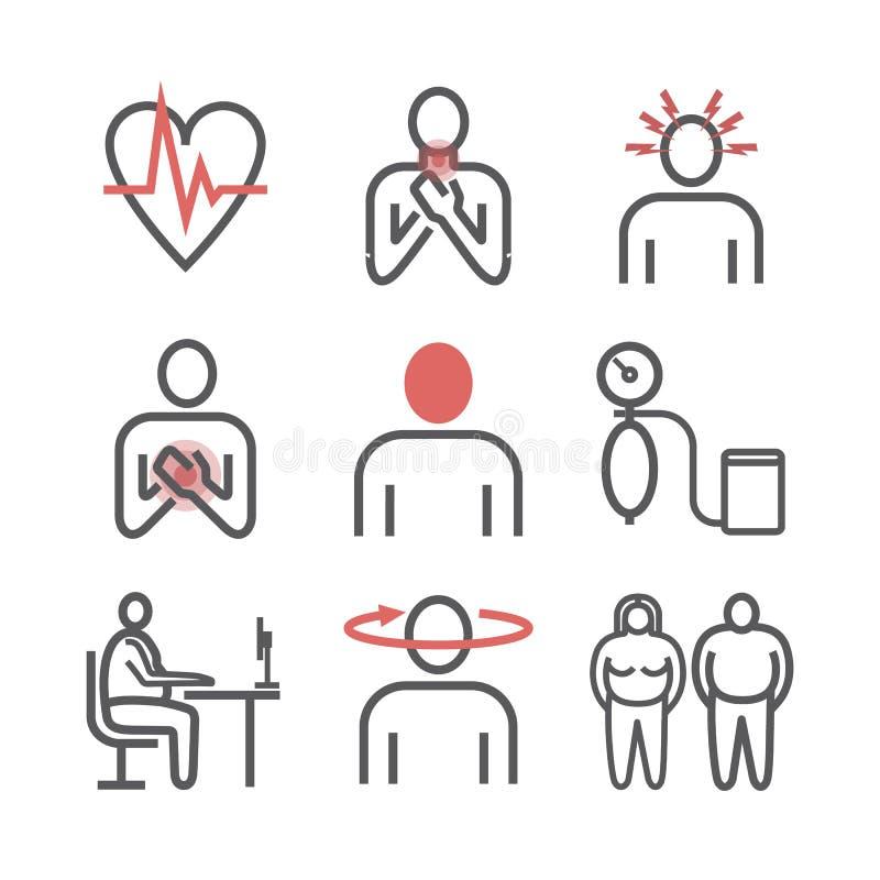 hypertension Tecken behandling Linje symbolsuppsättning Vektortecken för rengöringsdukdiagram royaltyfri illustrationer