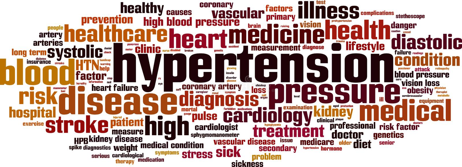 Hypertension word cloud. Concept. Vector illustration stock illustration