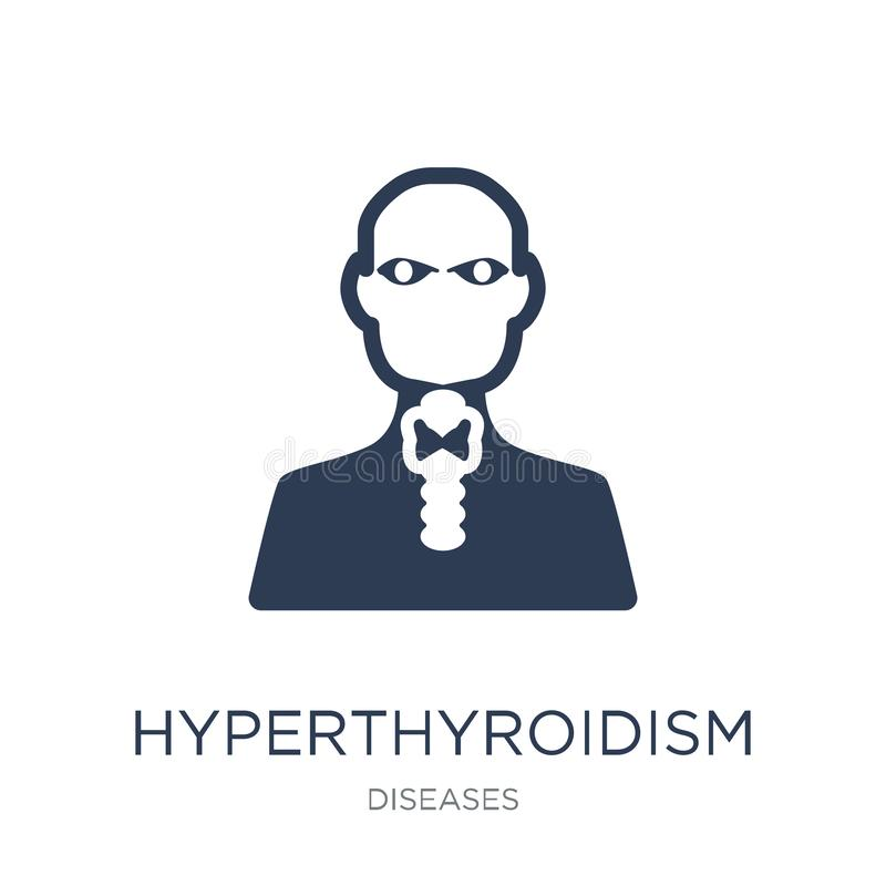 Hyperthyroidism εικονίδιο Καθιερώνον τη μόδα επίπεδο διανυσματικό Hyperthyroidism εικονίδιο επάνω απεικόνιση αποθεμάτων
