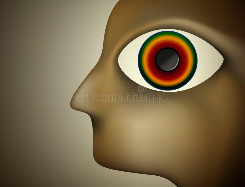 Hypnosbegrepp, manprofil med det stora kulöra ögat inom, vektor illustrationer