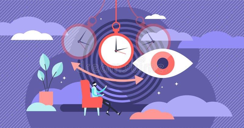 Hypnose vectorillustratie Vlak uiterst klein de personenconcept van de therapievoorwaarde stock illustratie