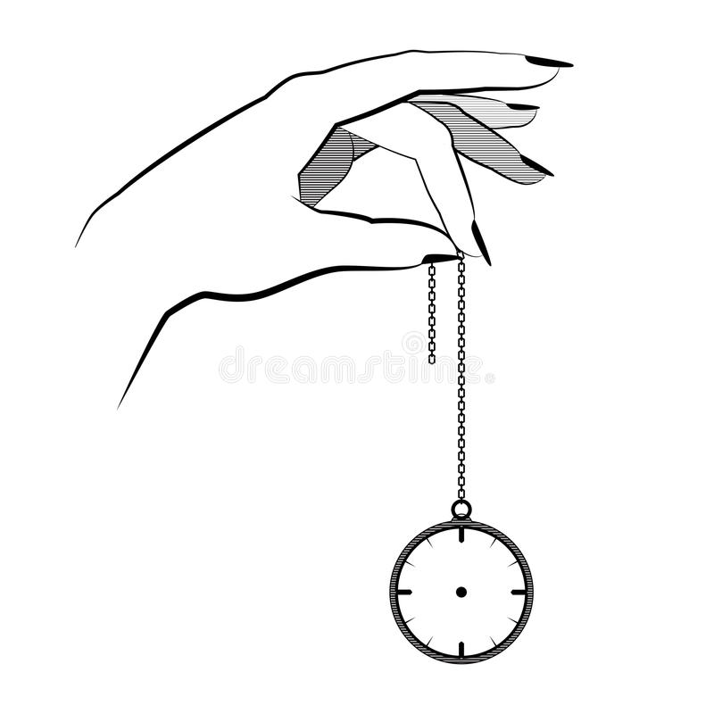 Hypnosis concept. hand hold on a chain pocket watch. mind control. vector illustration flat design. isolated on background. royalty free stock photo