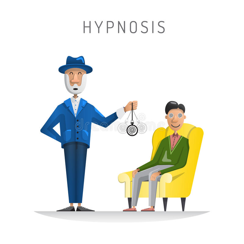 Hypnosis session man. Flat vector illustration of medical room with patient relaxing in chair and psychologist performing hypnosis session vector illustration