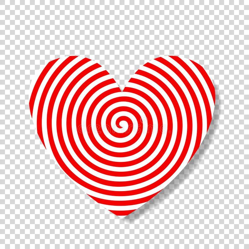 Hypnosspiral i form av hjärta vektor illustrationer