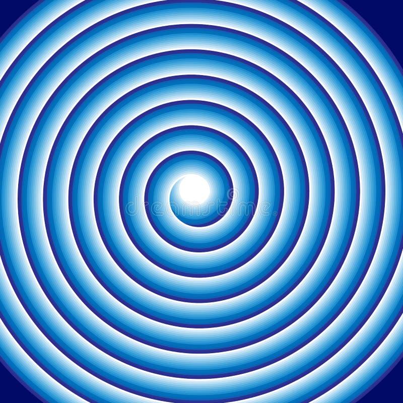 Hypnotic blauwe spiraalvormige abstracte werveling van de optische illusierol Cirkelpatroonachtergrond van roterende cirkels of p vector illustratie