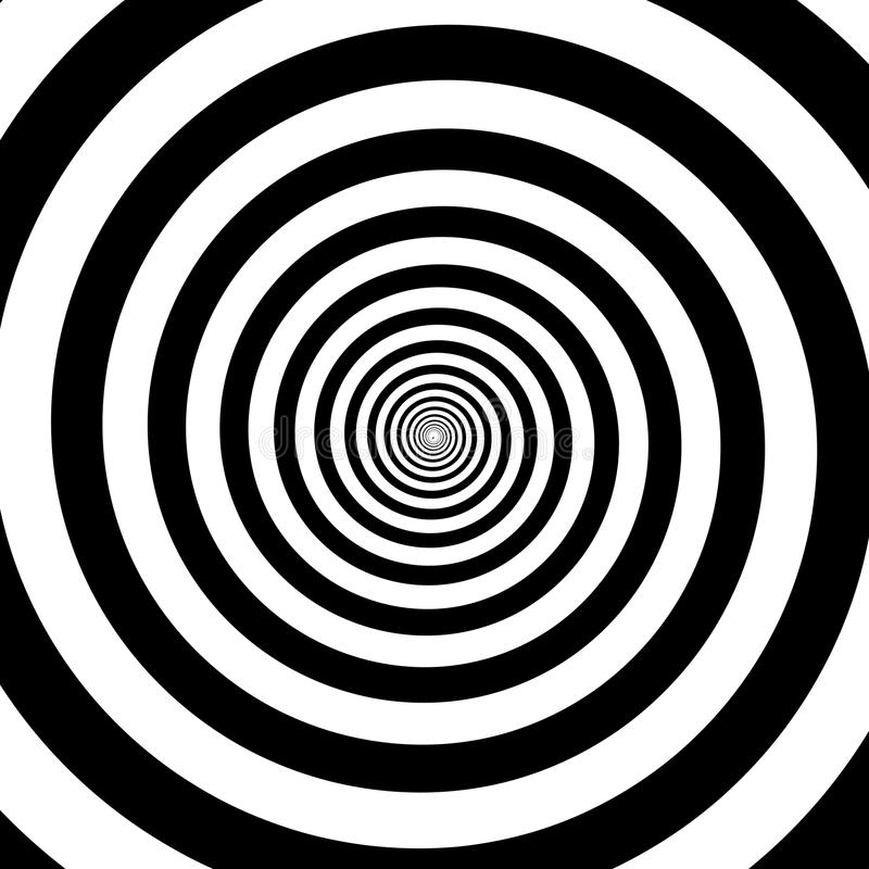 Hypnotic circles abstract white black optical illusion vector spiral swirl pattern background. Hypnotic circles abstract vector optical illusion spiral swirl stock illustration