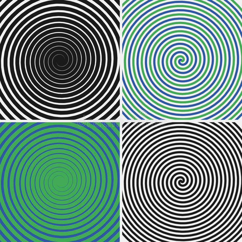 Hypnotic circles set. Collection of psychedelic spiral backgrounds. Abstract hypnosis optical illusion swirls. Vector. Hypnotic circles set. Collection of vector illustration