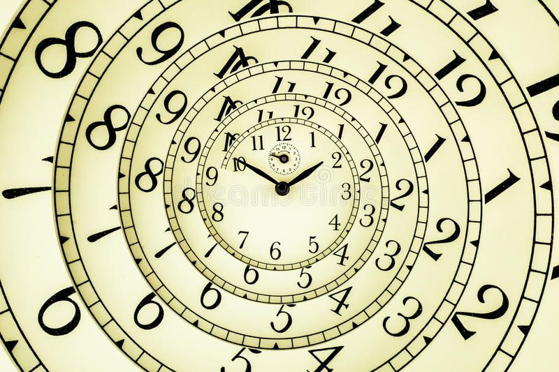 Hypnotic Clock. Detail of a used mechanical clock with hypnotic quadrant, very flexible concept royalty free stock photo