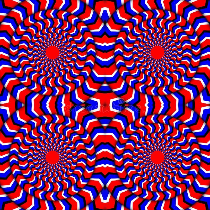 Hypnotic da rotação Ilusão perpétua da rotação Fundo com ilusões óticas brilhantes da rotação ótico ilustração stock