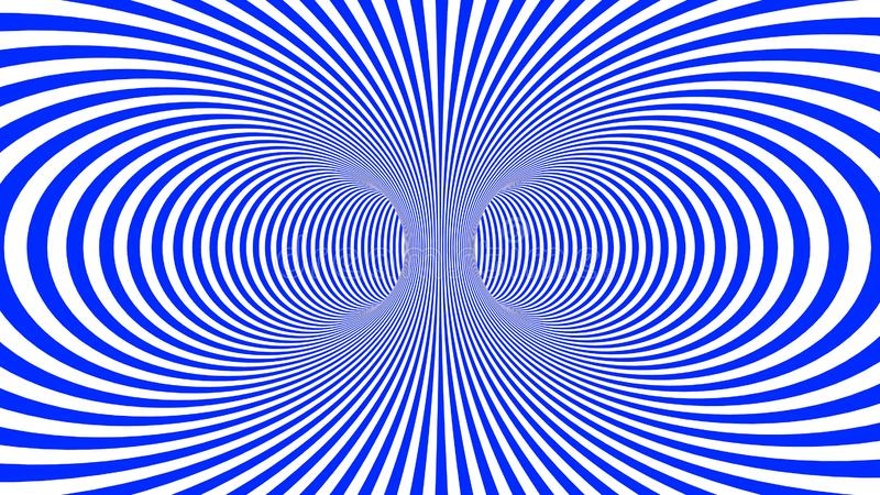 Hypnotic psychedelic illusion background with blue stripes. Hypnotic psychedelic illusion background with colorful stripes. White background with psychedelic royalty free illustration