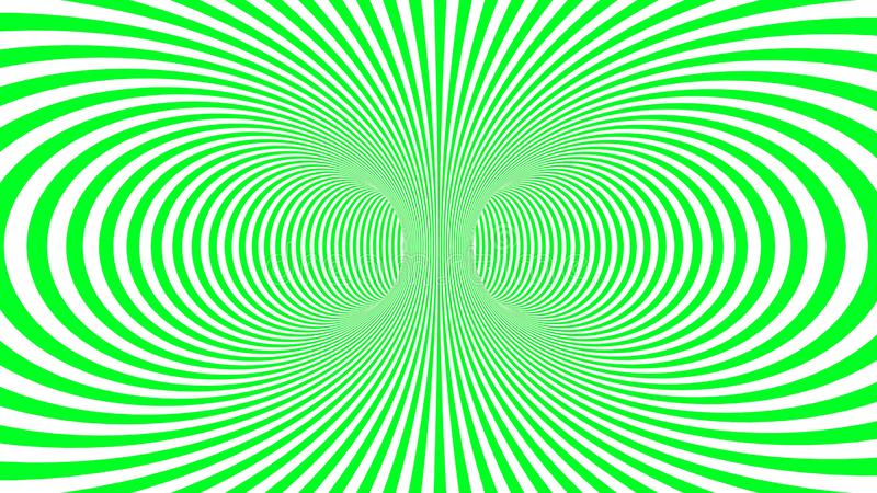 Hypnotic psychedelic illusion background with green stripes. Hypnotic psychedelic illusion background with colorful stripes. White background with psychedelic royalty free illustration