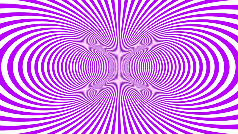 Hypnotic psychedelic illusion background with purple stripes. Hypnotic psychedelic illusion background with colorful stripes. White background with psychedelic stock illustration