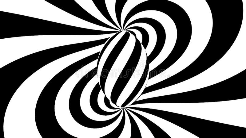 Hypnotic spiral. Black and white hypnosis. 3d rendered stock illustration