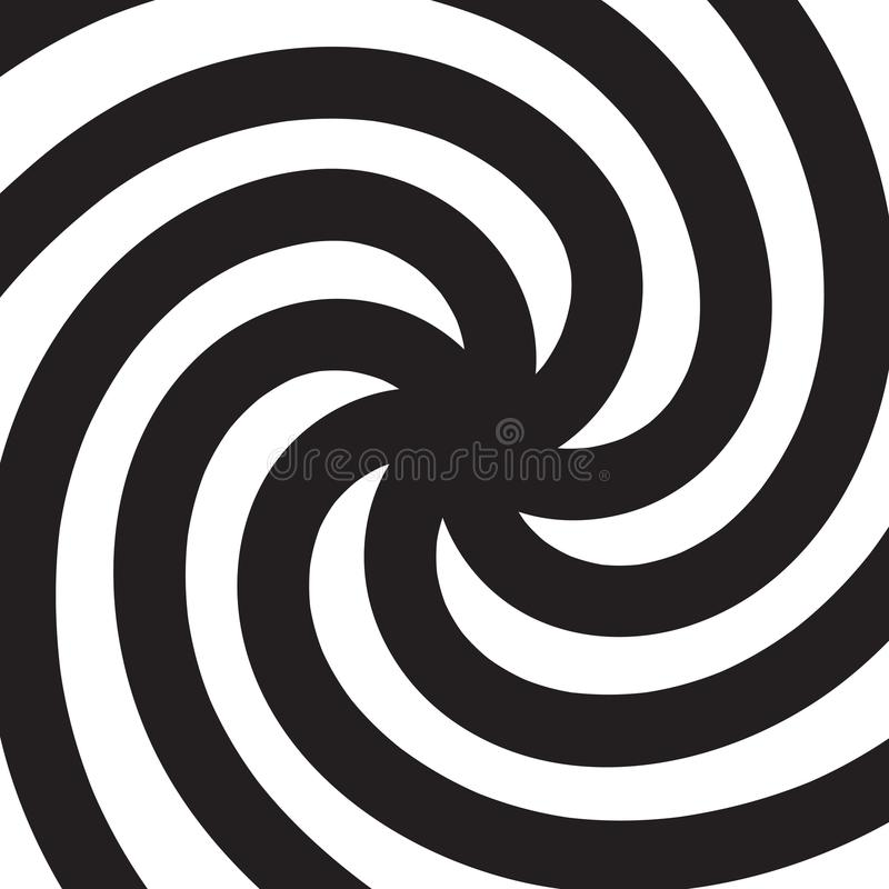 Hypnotic spiral. Black and white psychedelic spiral. Vector. Illustration royalty free illustration