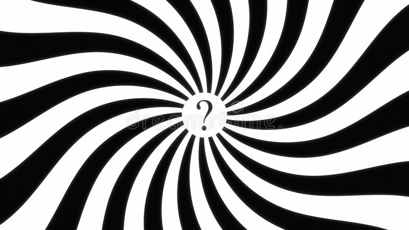 Hypnotic spiral dis question mark stock illustration