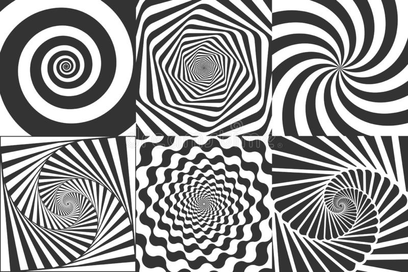 Hypnotic spiral. Swirl hypnotize spirals, vertigo geometric illusion and rotating stripes round pattern vector. Hypnotic spiral. Swirl hypnotize spirals, vertigo royalty free illustration