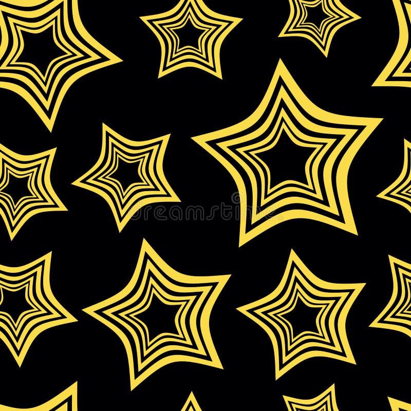 Hypnotic stars. Hypnotic yellow and black stars against a dark background vector illustration