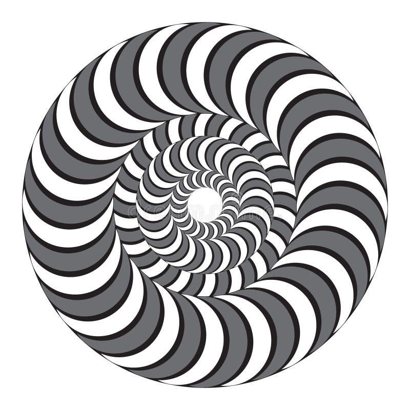 Hypnotic verdraaiende spiraal Concentrische Cirkels Optische illusie stock illustratie