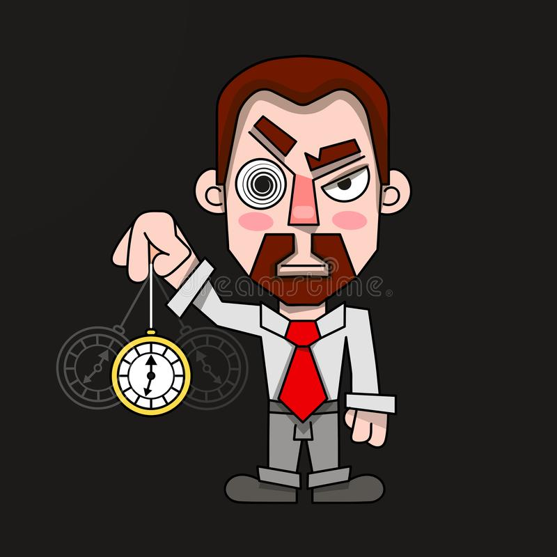 Hypnotisör med en klocka i en skjorta- och bandvektor vektor illustrationer