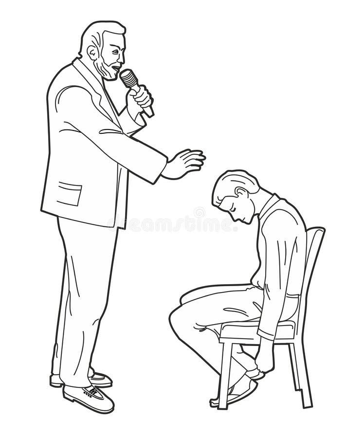 Hypnotisören hypnotiserar mannen Svart vektorillustration på vit bakgrund royaltyfri illustrationer