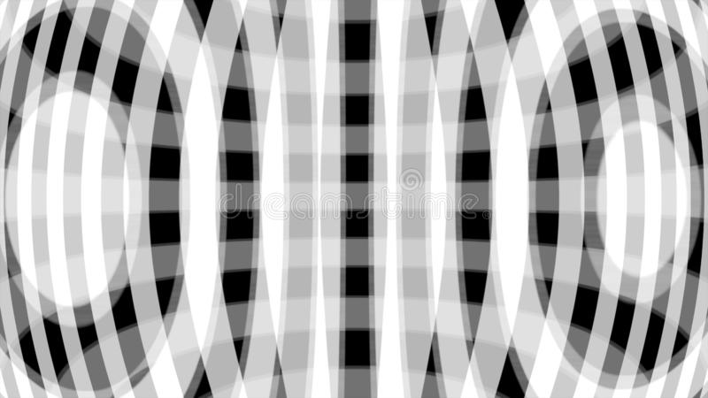 Hypnotische Animation von funkelnden wei?en Kreisen und von breiten bogenf?rmigen Linien auf schwarzem Hintergrund, nahtlose Schl stock abbildung