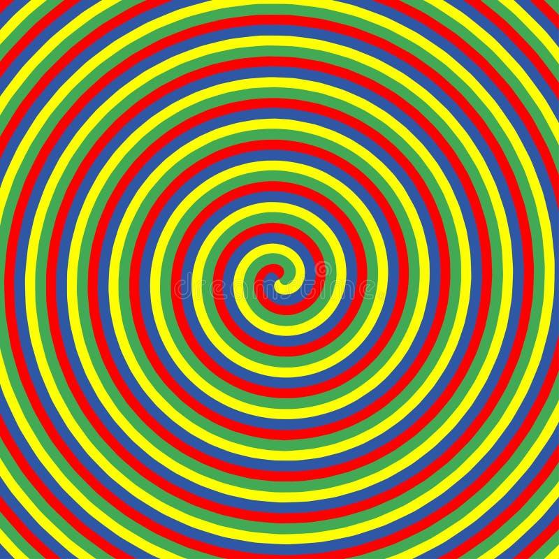 Hypnotische Farbkreise Sammlung bunte psychedelische gewundene Hintergründe Abstrakte Strudel der Hypnoseoptischen täuschung Vekt stock abbildung