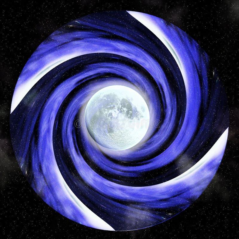 Hypnotische Turbulenz mit Vollmond vektor abbildung
