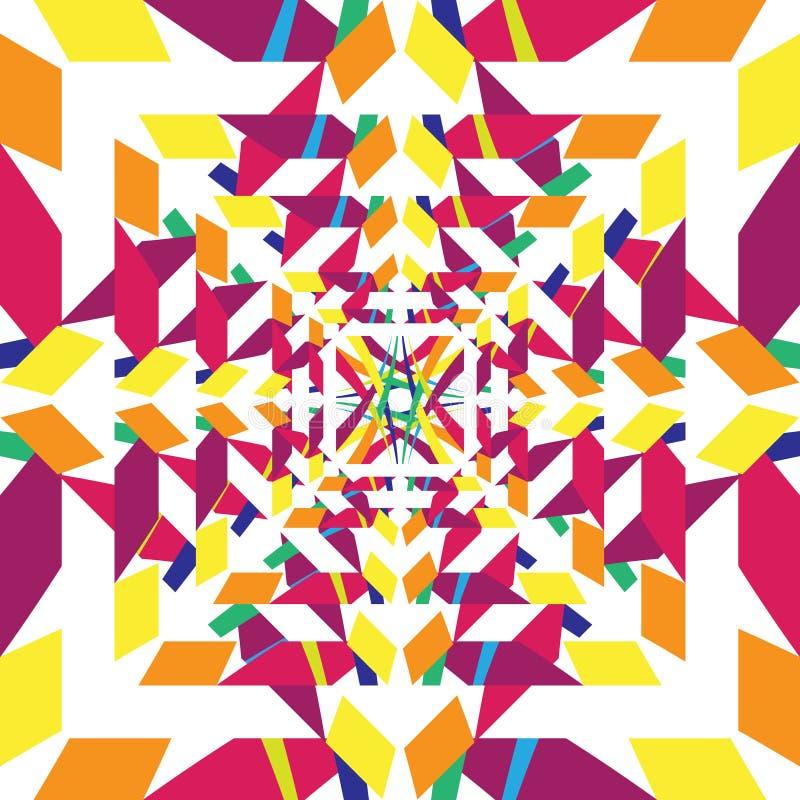 Hypnotischer abstrakter geometrischer bunter Hintergrund stock abbildung