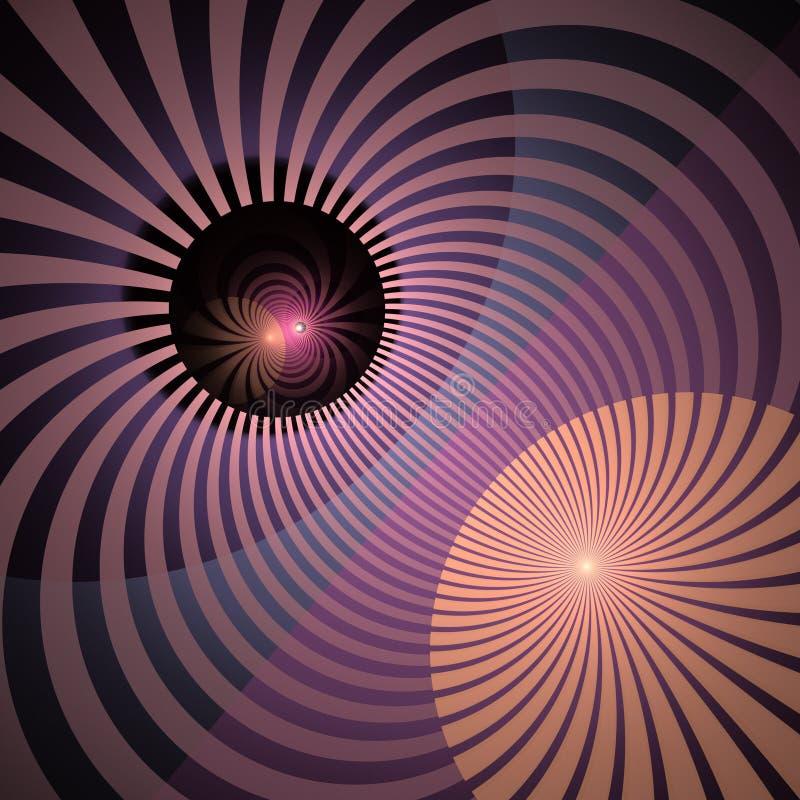 Hypnotischer und vibrierender Farbstrahln-Hintergrund Abstrakte gewundene Turbulenz Leuchtender Sonnenstrahlstrudel mit verdrehte lizenzfreie abbildung