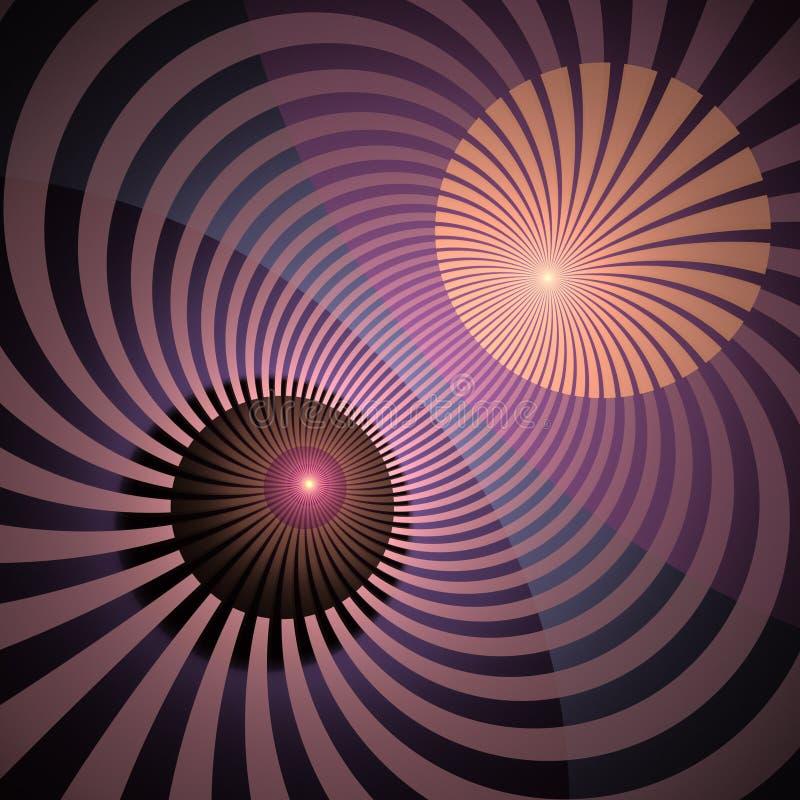 Hypnotischer und vibrierender Farbstrahln-Hintergrund Abstrakte gewundene Turbulenz Leuchtender Sonnenstrahlstrudel mit verdrehte stock abbildung