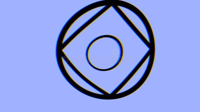 Hypnotisches Videomuster Retro- psychedelische Animation mit geometrischen Formen, blauer Hintergrund Geometrischer Schleifenhint stock abbildung