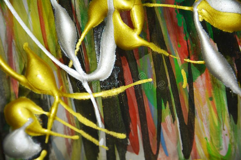 Hypnotiska vaxartade silvriga toner för grön guld, färgstänk, borste slår vattenfärgmålarfärg Bakgrund för vattenfärgmålarfärgabs arkivfoton