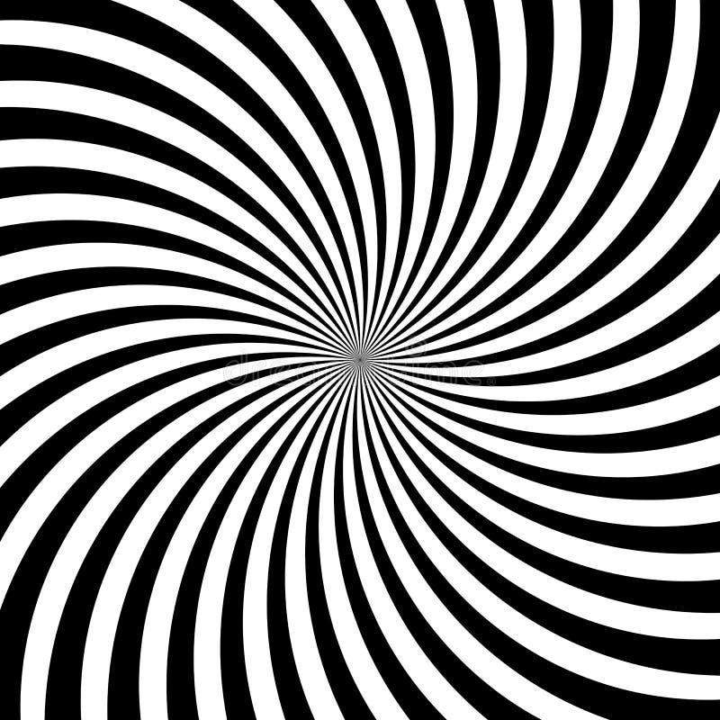 Hypnotiska virvellinjer abstrakt bakgrund för modell för virvel för vektor för optisk illusion för vitsvart stock illustrationer