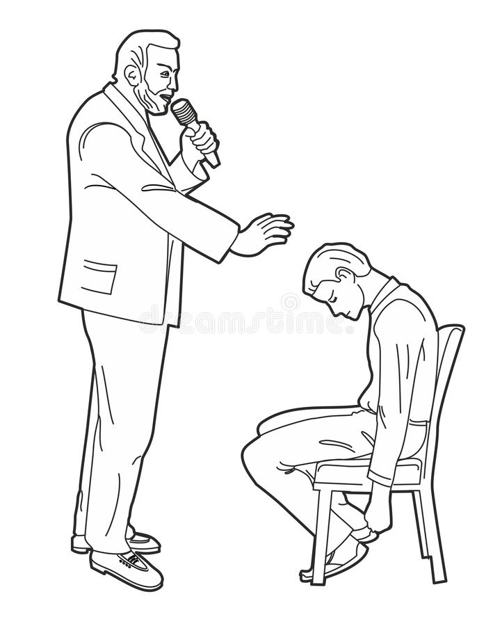 Hypnotist гипнотизирует человека Черная иллюстрация вектора на белой предпосылке бесплатная иллюстрация