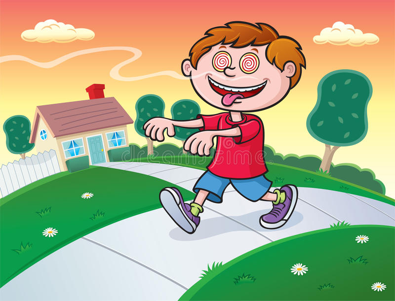 Hypnotized Kid Following Aroma In The Air vector illustration