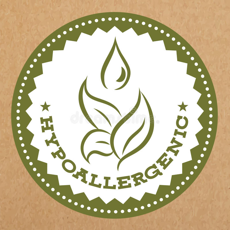 Hypoallergenic green label, badge with leaves and water drop for allergy safe products, vector object royalty free illustration