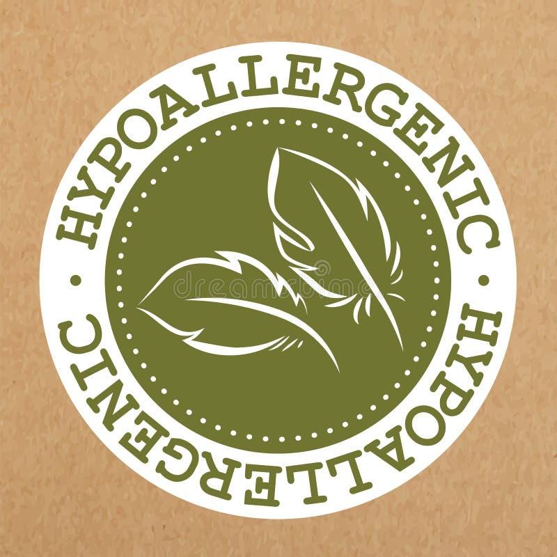 Hypoallergenic zielona etykietka, odznaka z liśćmi dla alergia bezpiecznych produktów, wektorowy przedmiot ilustracja wektor