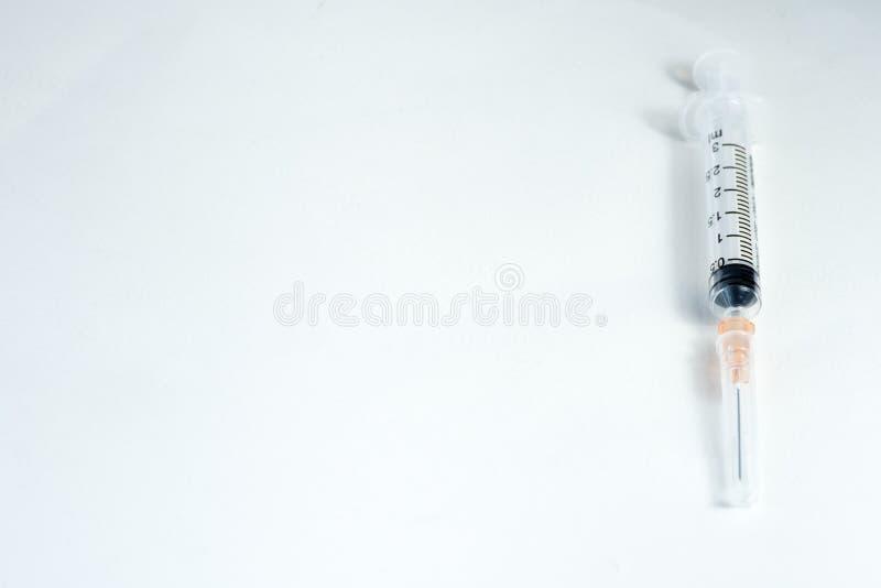 Hypodermic needleinjection needle on white background royalty free stock photo