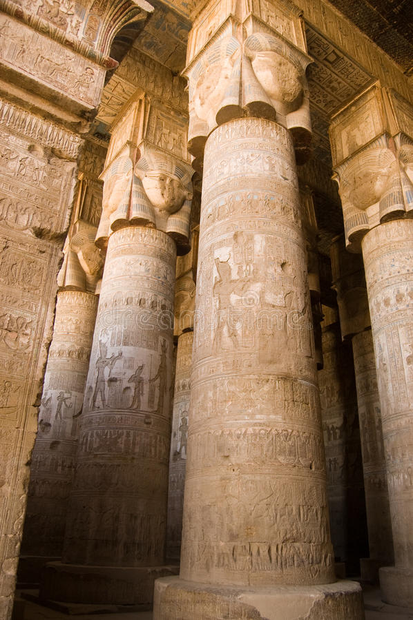 Hypostyle Zaal, Dendera Tempel, Egypte stock afbeelding