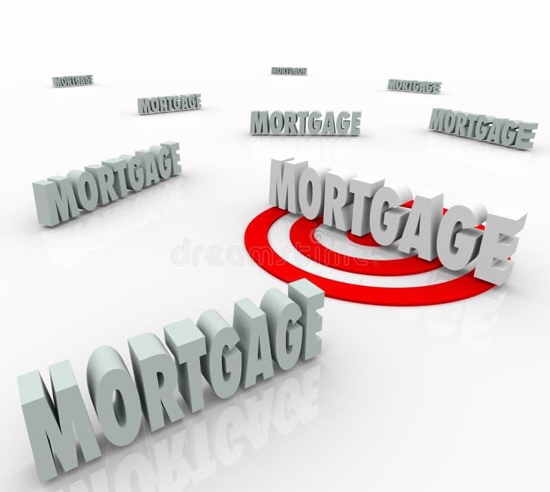 Hypothèque Word visant le plus bas intérêt du meilleur de prêt prêteur d'option illustration libre de droits