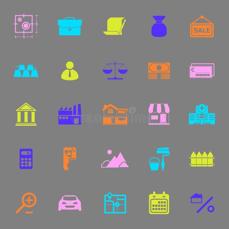 Hypotheek en huis de pictogrammen van de leningskleur op grijze achtergrond stock illustratie